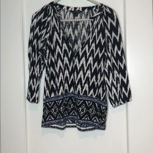 Lucky Brand Zig Zag Pattern White and Black Top